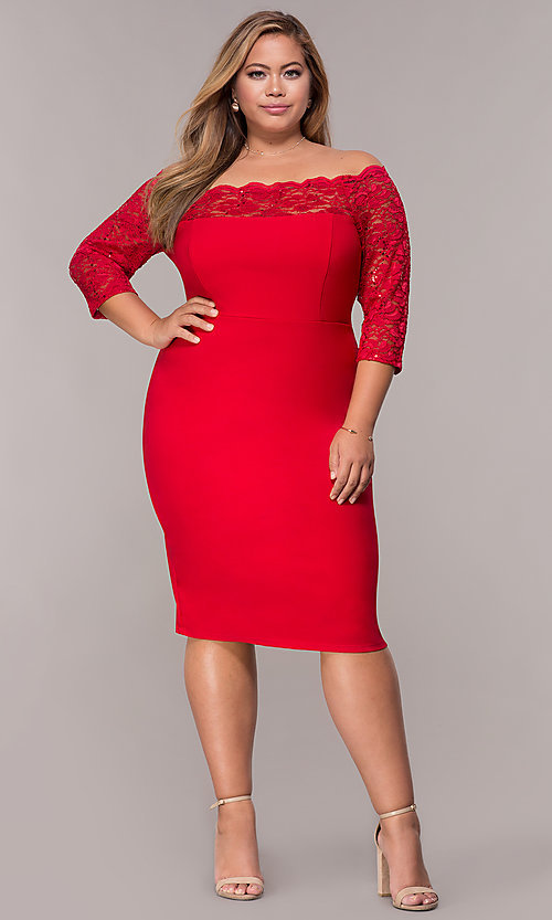 Image of plus-size red off-shoulder party dress with sleeves. Style: MCR-2080 Detail Image 3