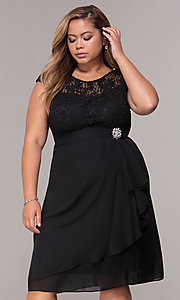 Image of short chiffon mother-of-the-bride plus-size dress. Style: MCR-2212 Detail Image 1