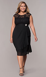 Image of short chiffon mother-of-the-bride plus-size dress. Style: MCR-2212 Detail Image 3