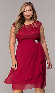 Image of short chiffon mother-of-the-bride plus-size dress. Style: MCR-2212 Front Image