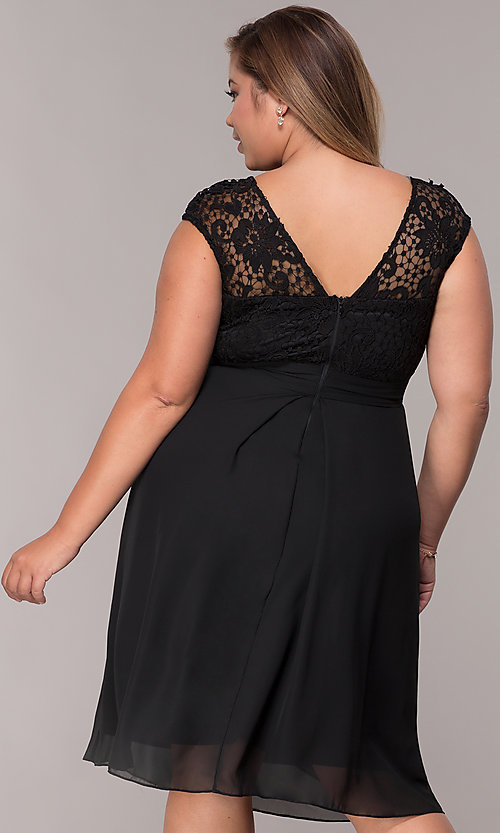 Image of short chiffon mother-of-the-bride plus-size dress. Style: MCR-2212 Detail Image 2