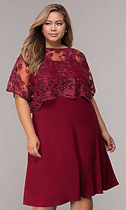 Image of short plus-size burgundy MOB dress with lace shawl. Style: MCR-2357 Front Image