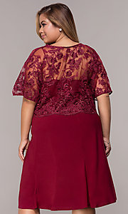 Image of short plus-size burgundy MOB dress with lace shawl. Style: MCR-2357 Back Image