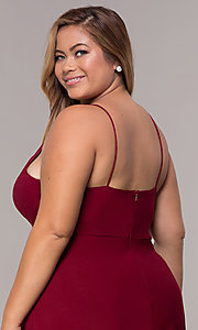 Image of short plus-size burgundy MOB dress with lace shawl. Style: MCR-2357 Detail Image 2