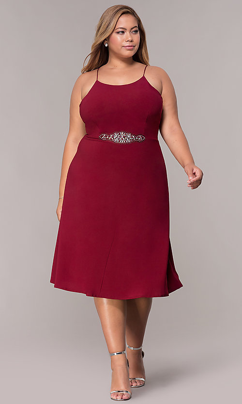 Image of short plus-size burgundy MOB dress with lace shawl. Style: MCR-2357 Detail Image 3
