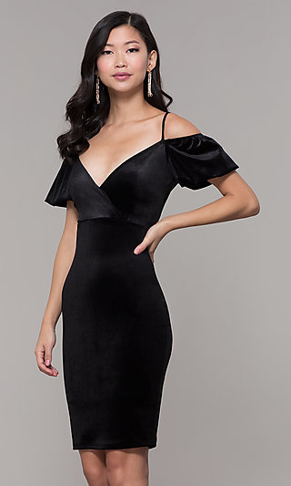 20c724913d Cold-Shoulder Knee-Length Velvet Party Dress