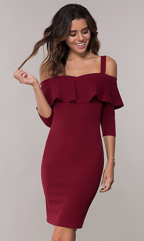 77dc2e772a8bc Image of knee-length cold-shoulder party dress with sleeves. Style  TOP