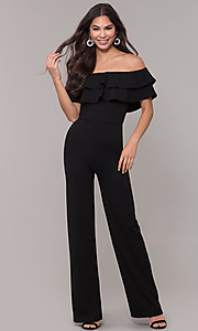 Image of popover off-the-shoulder fitted jumpsuit for parties. Style: TOP-J2021 Front Image
