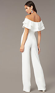 Image of popover off-the-shoulder fitted jumpsuit for parties. Style: TOP-J2021 Back Image