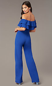 Image of popover off-the-shoulder fitted jumpsuit for parties. Style: TOP-J2021 Detail Image 3