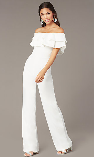 Popover Off-the-Shoulder Fitted Jumpsuit for Parties