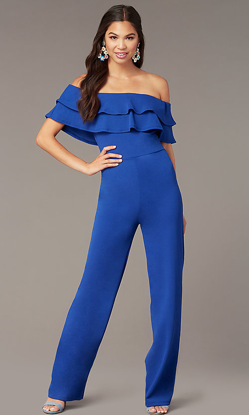 Image of popover off-the-shoulder fitted jumpsuit for parties. Style: TOP-J2021 Detail Image 2