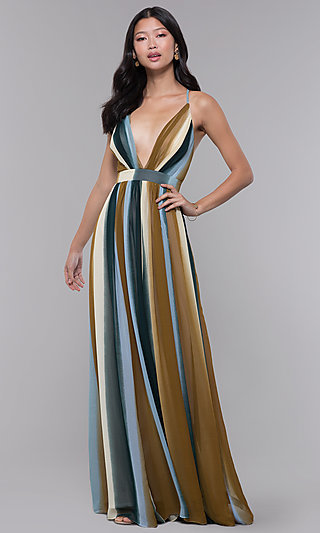 Long V-Neck Striped Wedding-Guest Dress