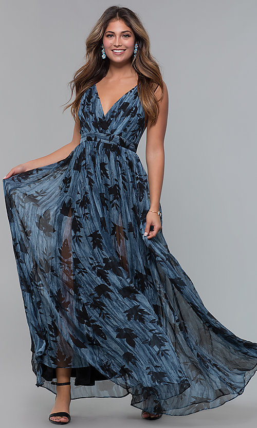 Image of v-neck chiffon long wedding-guest dress with print. Style: LUX-LD5049 Front Image