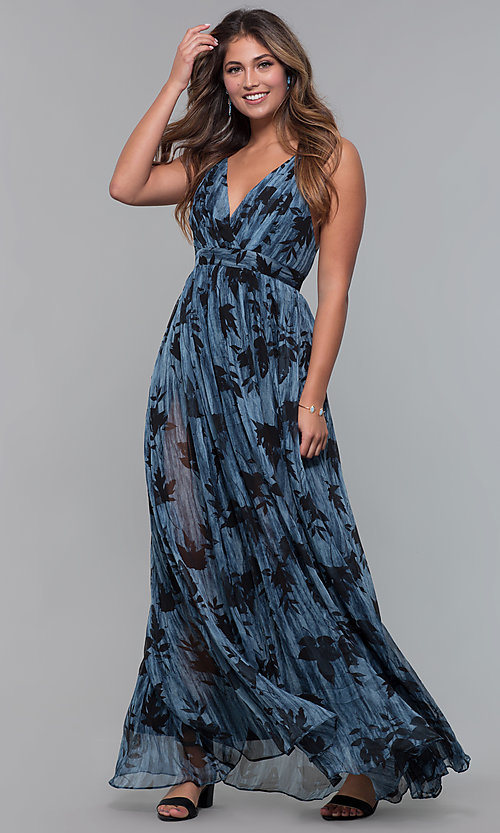 Image of v-neck chiffon long wedding-guest dress with print. Style: LUX-LD5049 Detail Image 3