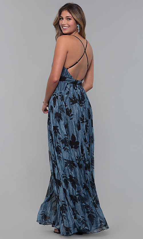 Image of v-neck chiffon long wedding-guest dress with print. Style: LUX-LD5049 Back Image