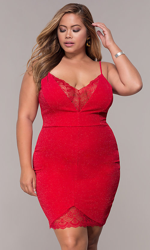 Image of glitter plus-size holiday party deep-v-neck dress. Style: SY-IXD5959MP Detail Image 3