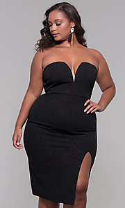 Image of strapless short plus-size holiday party dress. Style: SY-IXD6066VP Front Image