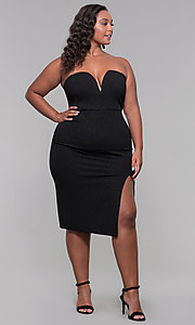 Image of strapless short plus-size holiday party dress. Style: SY-IXD6066VP Detail Image 2