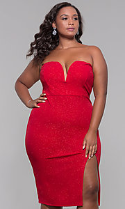 Image of strapless short plus-size holiday party dress. Style: SY-IXD6066VP Detail Image 3