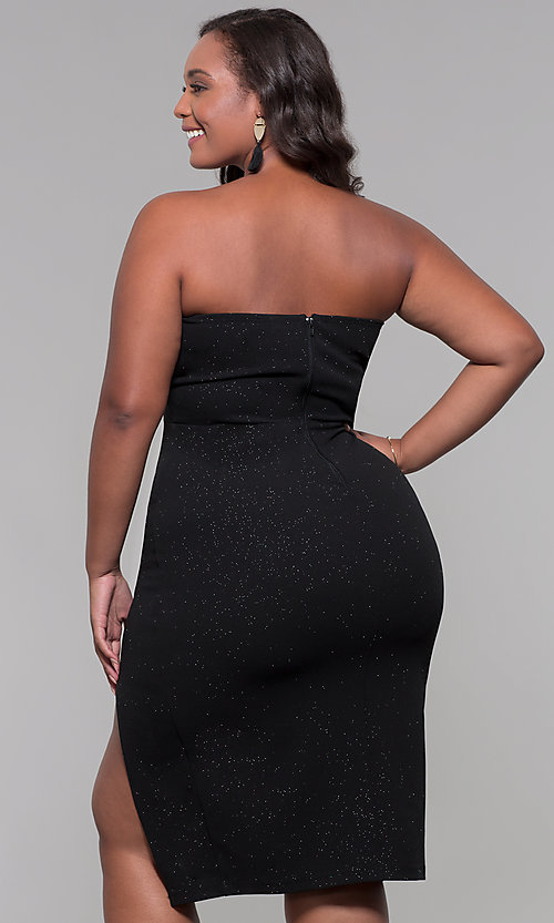 Image of strapless short plus-size holiday party dress. Style: SY-IXD6066VP Back Image