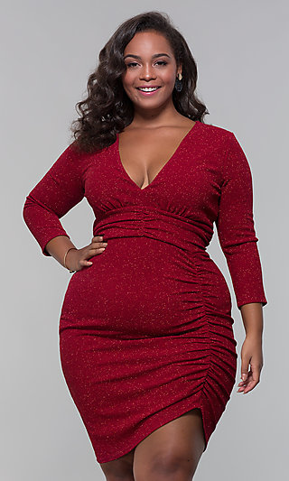 bb1a41adb82 Plus-Size Short V-Neck Glitter Holiday Party Dress