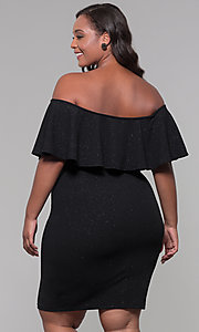 Image of off-the-shoulder plus-size short holiday party dress. Style: SY-IXD6079AP Back Image