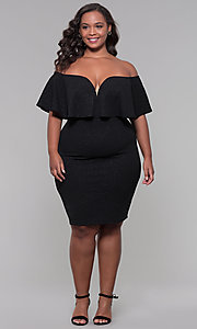 Image of off-the-shoulder plus-size short holiday party dress. Style: SY-IXD6079AP Detail Image 2