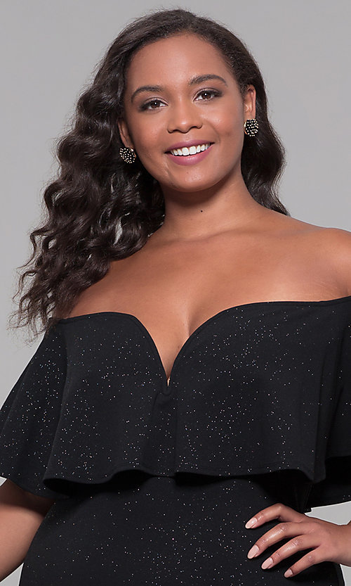Image of off-the-shoulder plus-size short holiday party dress. Style: SY-IXD6079AP Detail Image 1