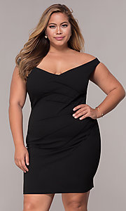 Image of ruched-waist off-the-shoulder plus party dress Style: SY-IXD5974AP Front Image