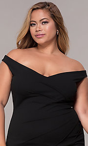 Image of ruched-waist off-the-shoulder plus party dress Style: SY-IXD5974AP Detail Image 1