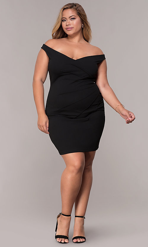 Image of ruched-waist off-the-shoulder plus party dress Style: SY-IXD5974AP Detail Image 2