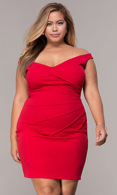 Image of ruched-waist off-the-shoulder plus party dress Style: SY-IXD5974AP Detail Image 3