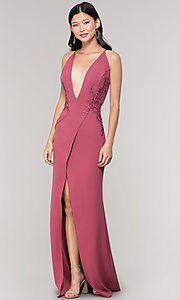 Image of plunging-v-neck faux-wrap long holiday formal dress. Style: SY-IDM5941AP Detail Image 3