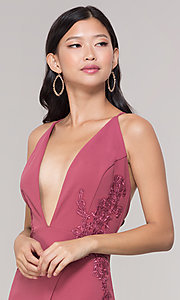 Image of plunging-v-neck faux-wrap long holiday formal dress. Style: SY-IDM5941AP Detail Image 5