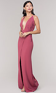 Image of plunging-v-neck faux-wrap long holiday formal dress. Style: SY-IDM5941AP Detail Image 7