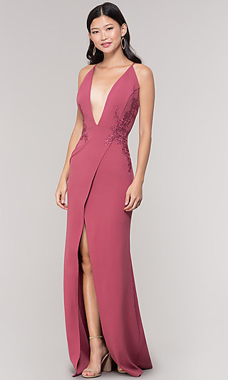 Plunging-V-Neck Faux-Wrap Long Formal Holiday Dress
