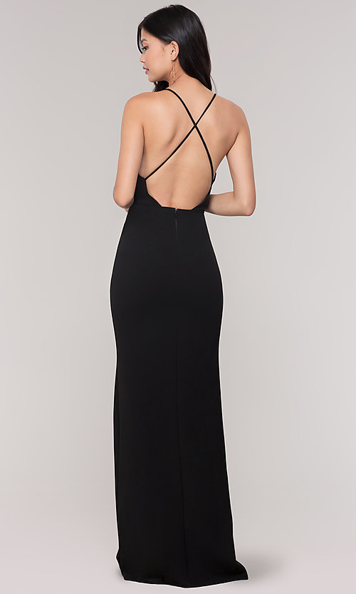 Image of plunging-v-neck faux-wrap long holiday formal dress. Style: SY-IDM5941AP Back Image