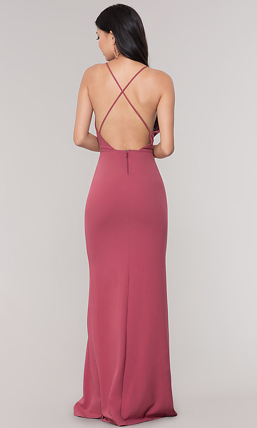 Image of plunging-v-neck faux-wrap long holiday formal dress. Style: SY-IDM5941AP Detail Image 4