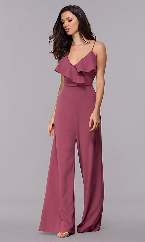 1d03bc1adf Image of wedding guest wide-leg v-neck maroon jumpsuit. Style  SY