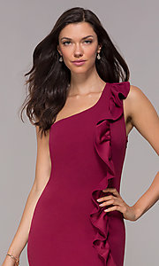 Image of ruffled one-shoulder short party dress in red plum. Style: SY-ID5881AP Detail Image 1