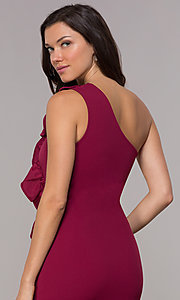 Image of ruffled one-shoulder short party dress in red plum. Style: SY-ID5881AP Detail Image 2