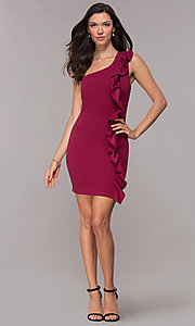 Image of ruffled one-shoulder short party dress in red plum. Style: SY-ID5881AP Detail Image 3