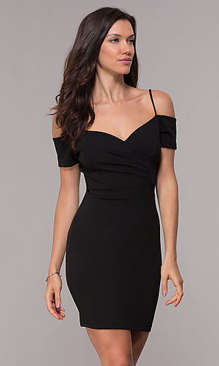 Ruched Black Party Dress with Off-Shoulder Sleeves