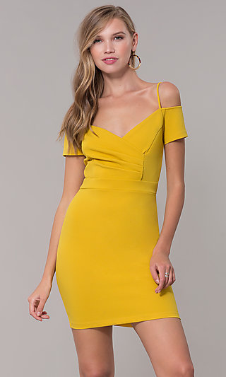 Ruched Party Dress with Off-the-Shoulder Sleeves