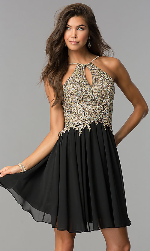 Image of short black homecoming dress with beaded bodice. Style: DJ-A6226b Front Image