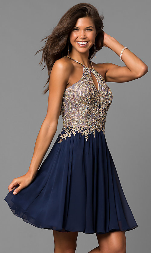 Image of short black homecoming dress with beaded bodice. Style: DJ-A6226b Detail Image 2