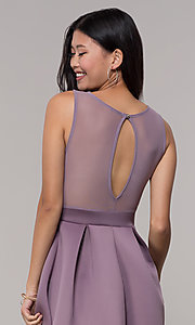 Image of sheer-back a-line short wedding-guest party dress. Style: DC-D46680 Detail Image 5