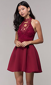 Image of cut-out lace-bodice short wedding-guest party dress. Style: DC-D44830 Detail Image 2