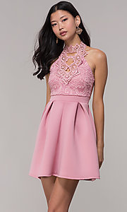 Image of cut-out lace-bodice short wedding-guest party dress. Style: DC-D44830 Detail Image 3